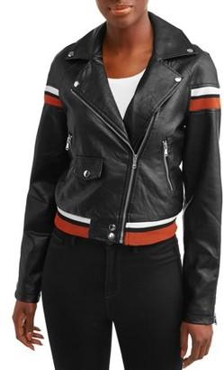 Celsius Women's Faux Leather Jacket with Varsity Stripes