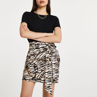 River Island Womens Brown animal print knotted wrap skirt