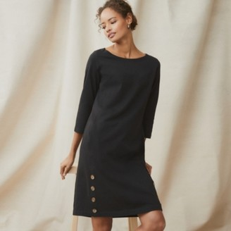 The White Company Cotton Button-Side Jersey Dress , Black, 6