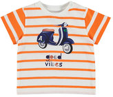 Mayoral Striped Jersey Good Vibes Scooter Tee, Tangerine, Size 6-36 Months