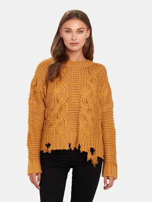 Moon River Distressed Hem Cable Knit Sweater