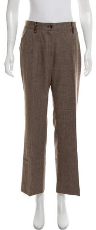 Dolce & Gabbana Wool Mid-Rise Pants Brown Wool Mid-Rise Pants