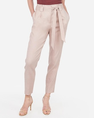 Express High Waisted Linen-Blend Paperbag Ankle Pant