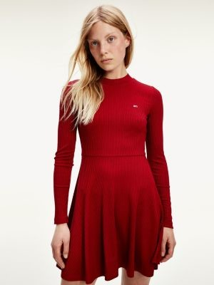 Tommy Hilfiger Ribbed Fit And Flare Dress