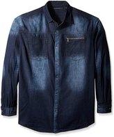 Sean John Men's Big and Tall Long Sleeve Denim Button up Shirt