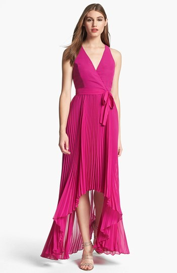 Max & Cleo Pleated High/Low Gown