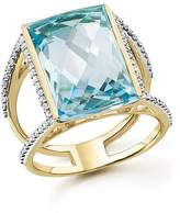 Bloomingdale's Blue Topaz Statement Ring with Diamonds in 14K Yellow Gold - 100% Exclusive