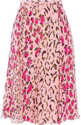 Carolina Herrera Gathered Leopard-print Silk-chiffon Skirt