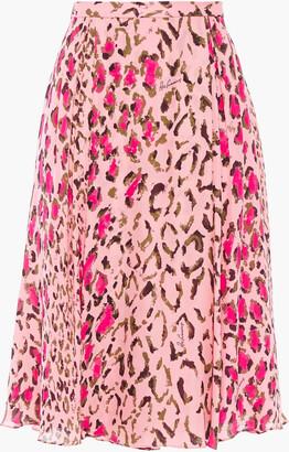 Carolina Herrera + Rose Cumming Gathered Leopard-print Silk-chiffon Skirt