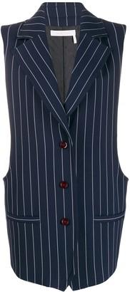 See by Chloe pinstripe longline waistcoat
