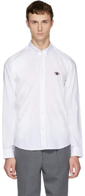 Kenzo White Embroidered Eye Shirt