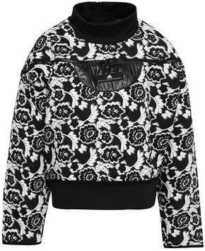 adidas by Stella McCartney Shell-trimmed Scuba And Floral-jacquard Sweatshirt