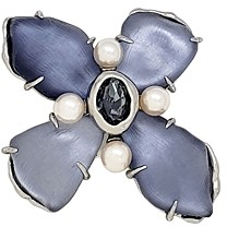 Alexis Bittar Future Antiquity Gray Slate Crystal, Imitation Pearl & Lucite Flower Pin