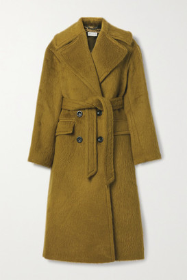 Dries Van Noten Belted Alpaca And Wool-blend Coat - Light brown