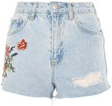 Petite fire flower denim shorts