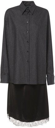 MM6 MAISON MARGIELA Pinstripe Wool & Satin Midi Dress