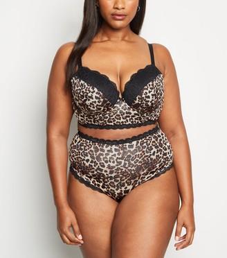New Look Curves Leopard Print Longline Bra