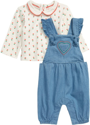 Boden Top & Chambray Overalls Set