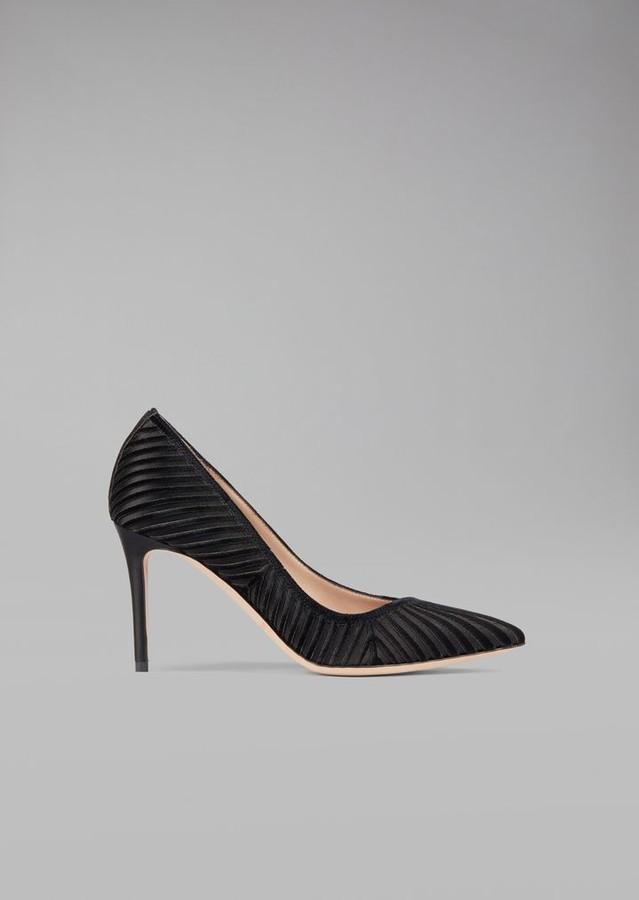 Giorgio Armani Velvet Court Shoe With Exclusive Plisse Design
