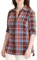 Lauren Ralph Lauren Plus Plus Alishia Plaid Cotton Twill Shirt