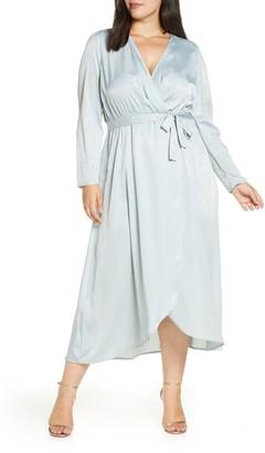Vero Moda Julia Wrap Front Long Sleeve Satin Jacquard Dress
