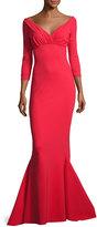 Chiara Boni La Petite Robe Guinevere Long-Sleeve Mermaid Gown, Red
