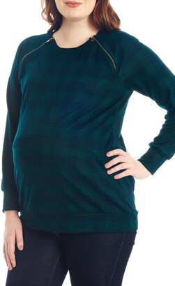 Everly Grey Augusta Plaid Maternity/Nursing Pullover