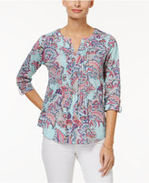 Charter Club Petite Cotton Paisley-Print Top, Only at Macy's