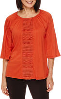 Sag Harbor Artful Animal 3/4-Sleeve Crochet-Panel Crinkle Top