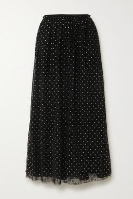 RED Valentino Glittered Polka-dot Lace Midi Skirt - Black