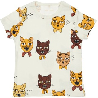 Mini Rodini Cat Print Organic Cotton T-shirt