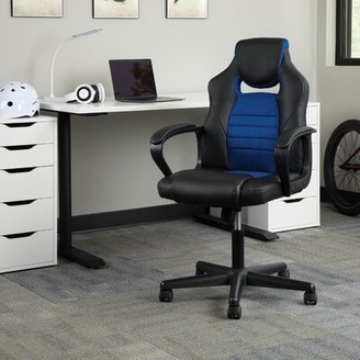 Ellingsworth Racing Style Ergonomic Genuine Leather Gaming Chair Latitude Run Upholstery Color: Blue