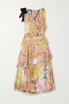 Jason Wu Collection Grosgrain-trimmed Ruffled Floral-print Silk-crepon Dress - Yellow