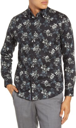 Ted Baker Revoir Slim Fit Floral Print Button-Up Shirt