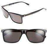 BOSS Men's '0704Ps' 57Mm Polarized Sunglasses - Black/ Dark Ruthen/ Grey