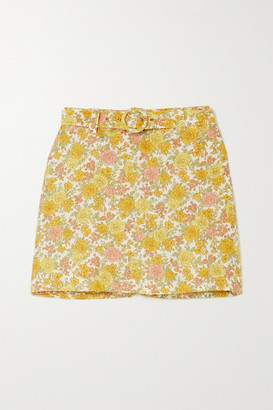 Faithfull The Brand Net Sustain Celia Belted Layered Floral-print Linen Shorts - Yellow
