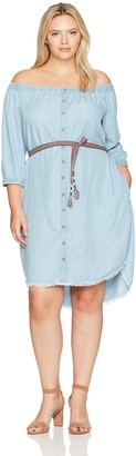 Democracy Women's Off Shoulder Button Down Rounded Hem Dress