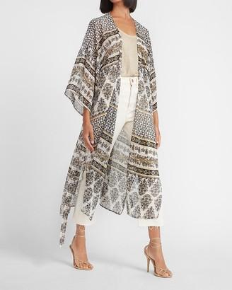 Express Metallic Paisley Chiffon Kimono Cover-Up