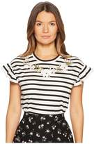 Kate Spade Embroidered Ruffle T-Shirt