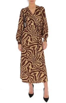 Ganni Tiger Swirl Print Wrap Dress