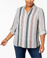 Charter Club Plus Size Striped Utility Blouse, Created for Macy's