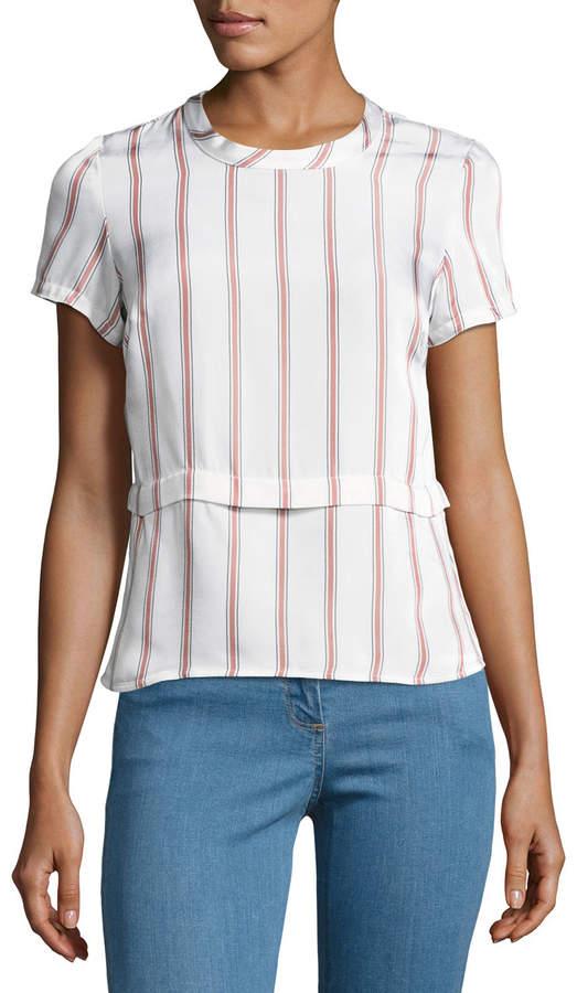 Veronica Beard Short-Sleeve Striped Poplin Tee, White