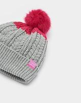 Joules Girls Warm Knit Hat with Faux Fur Bobble & Fleece Lining in True Pink