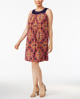 Jessica Howard Plus Size Crochet-Trim Printed Dress