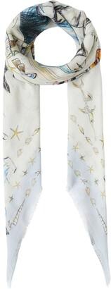 Burberry Marine sketch-print cashmere large square scarf