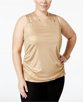 INC International Concepts Plus Size Metallic Lattice-Back Tank Top, Only at Macy's