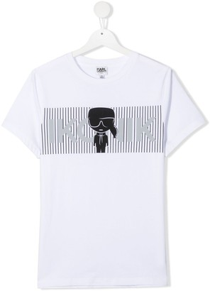 Karl Lagerfeld Paris TEEN K/Ikonic-print cotton T-shirt