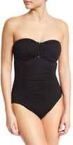 Seafolly Ruched-Panel Maillot One-Piece Swimsuit, Black