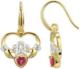 JCPenney FINE JEWELRY Heart-Shaped Lab-Created Ruby and Diamond-Accent Claddagh Earrings