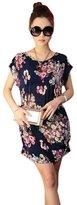 Franterd Women Skirts Print Short Sleeves T Shirt Blouse Loose Mini Dress